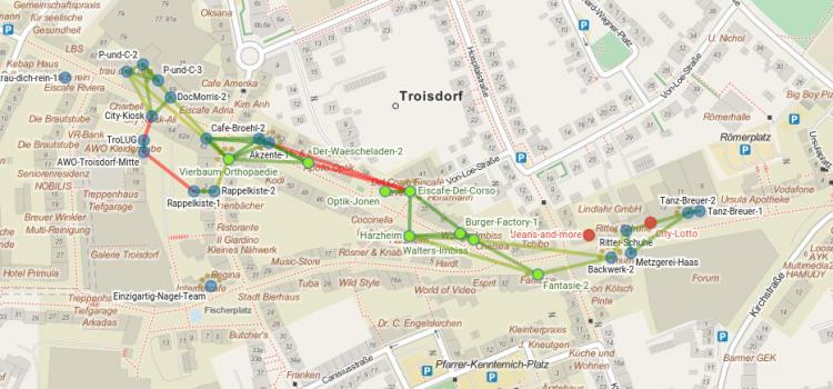 Kölner Straße im Bereich Fußgängerzone komplett mit Freifunk versorgt